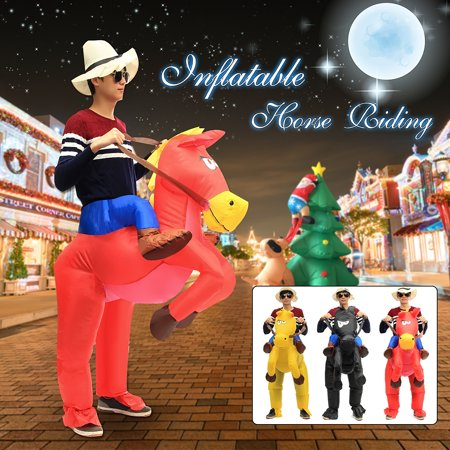 Funny Inflatable Horse Riding Suit Cowboy Adult Fancy Dress Stage Costume for Halloween Night Bars Party Dance Cosplay with Fan (Inflatable Halloween Suits)