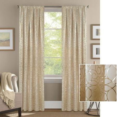 Gold Embassy Scroll (Better Homes & Gardens Vintage Scroll Metallic Gold or Silver Room Darkening Curtain)