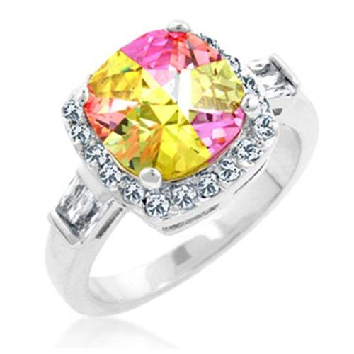 Kate Bissett R08006R-V01-10 White Gold Rhodium Cocktail Ring with Bar Set Baguettes and Prong set Cushion Cut Multicolor