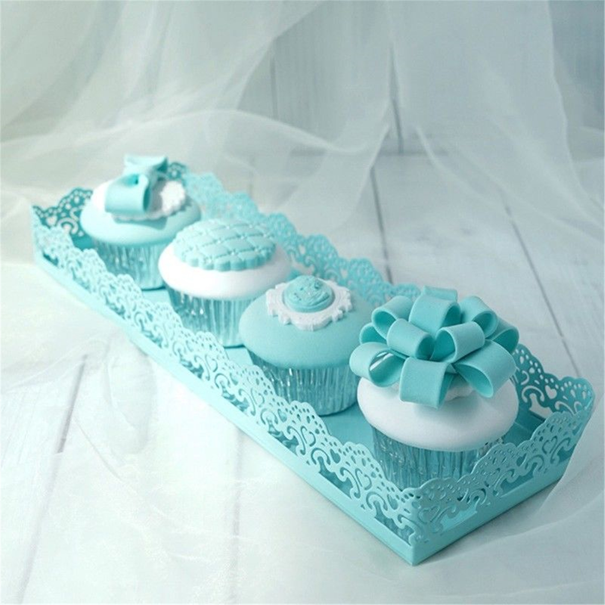 Rectangle Cake Stand Dessert Pastry Tray Wedding Banquet Cupcake Stands Holder Display