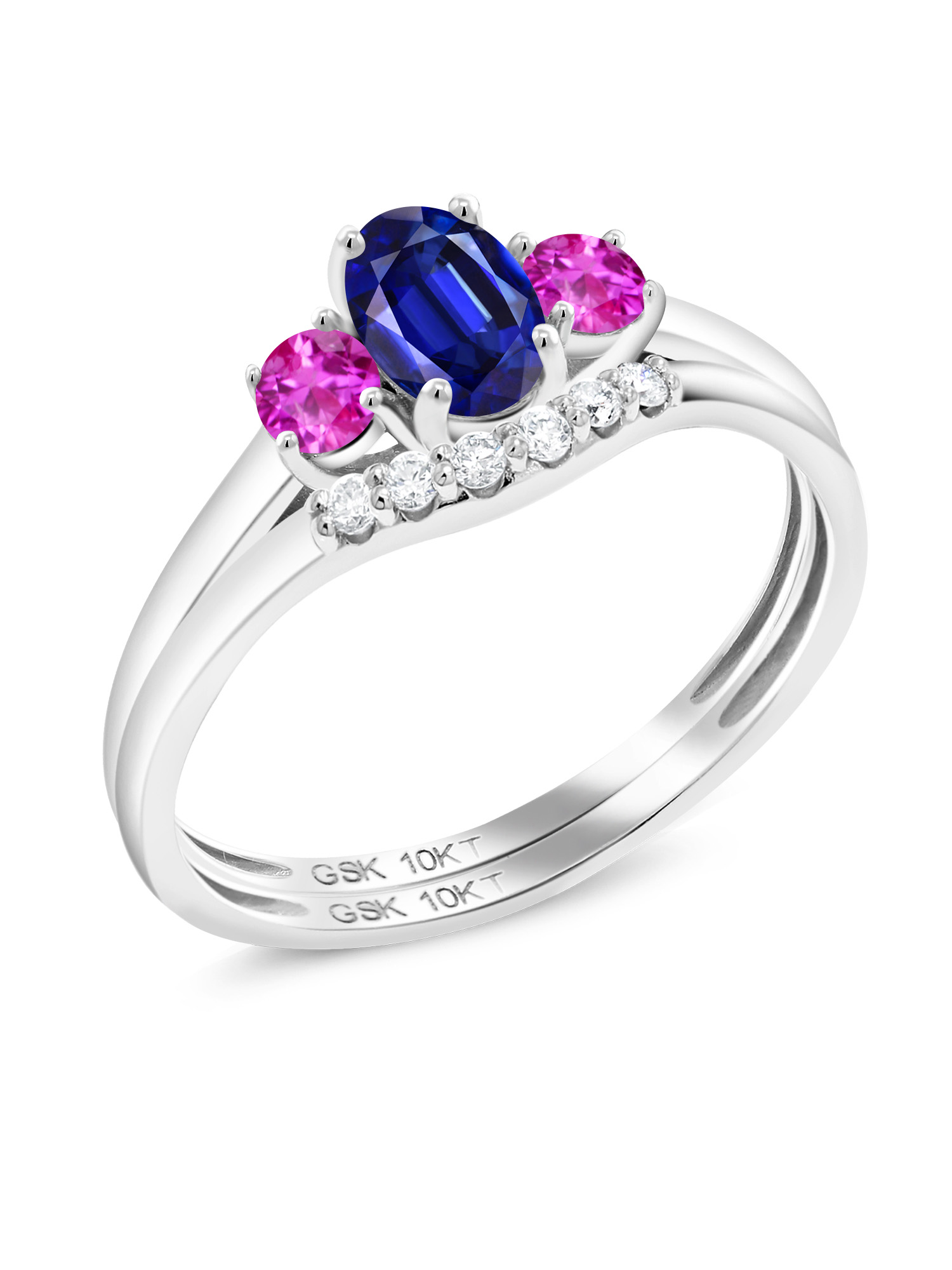 0.92 Ct Oval Blue Kyanite Pink Sapphire 10K White Gold Lab Grown Diamond Ring by