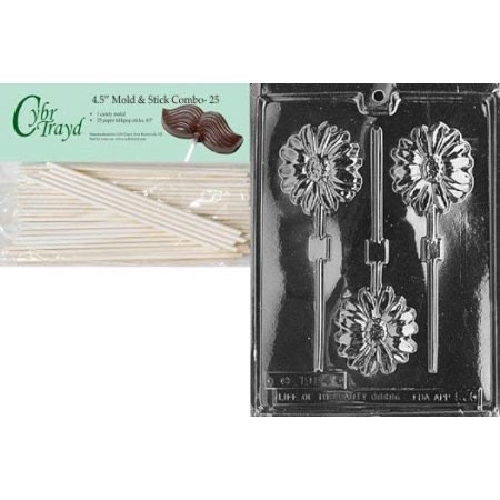 Cybrtrayd Long Stem Daisy Lolly Fruits and Vegetables Chocolate Candy Mold with 25 4.5-Inch Lollipop Sticks