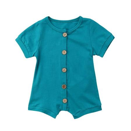 Newborn Toddler Baby Boy Girls Cotton Short Sleeve Romper Jumpsuit Bodysuit One-Piece Outfit Clothes 0-24M