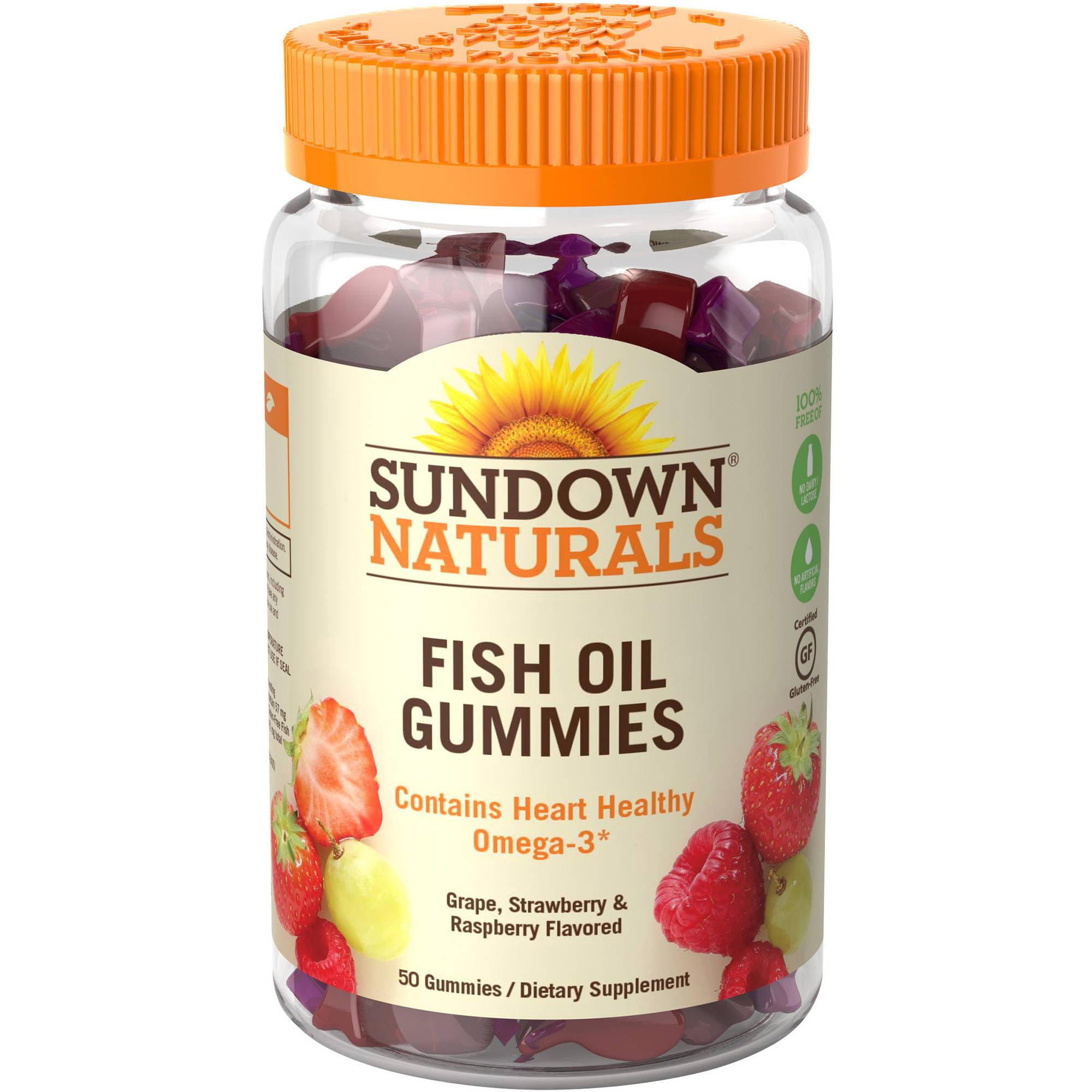 Sundown Naturals Fish Oil Omega-3 EPA/DHA with Vitamin D3 Dietary Supplement Gluten-Free Gummies ...