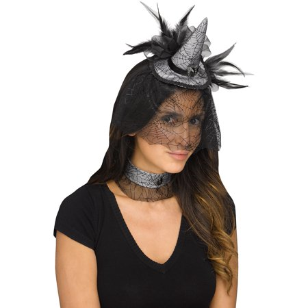 Mini Witch Hat Headband (Mini Witch Hat Choker Spiderweb Headband Black Feathers Costume Accessory)