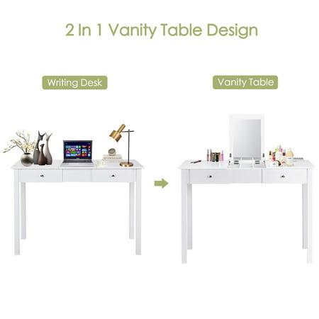 Costway Vanity Table Dressing Table Flip Top Desk Mirror 2 Drawers White - image 4 of 10