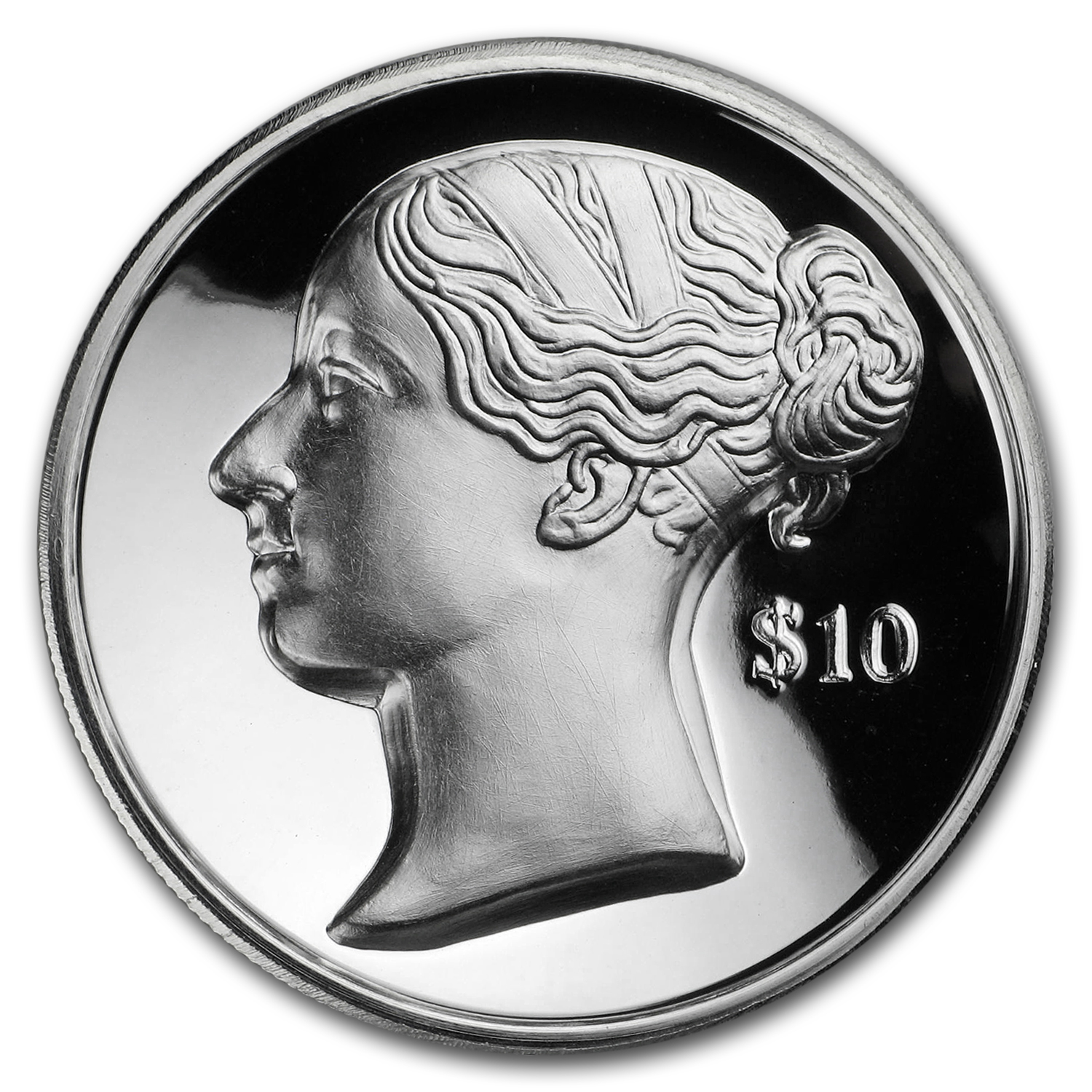 2017 BVI Silver $10 Anniv of Queen Victoria's Accession (UHR)