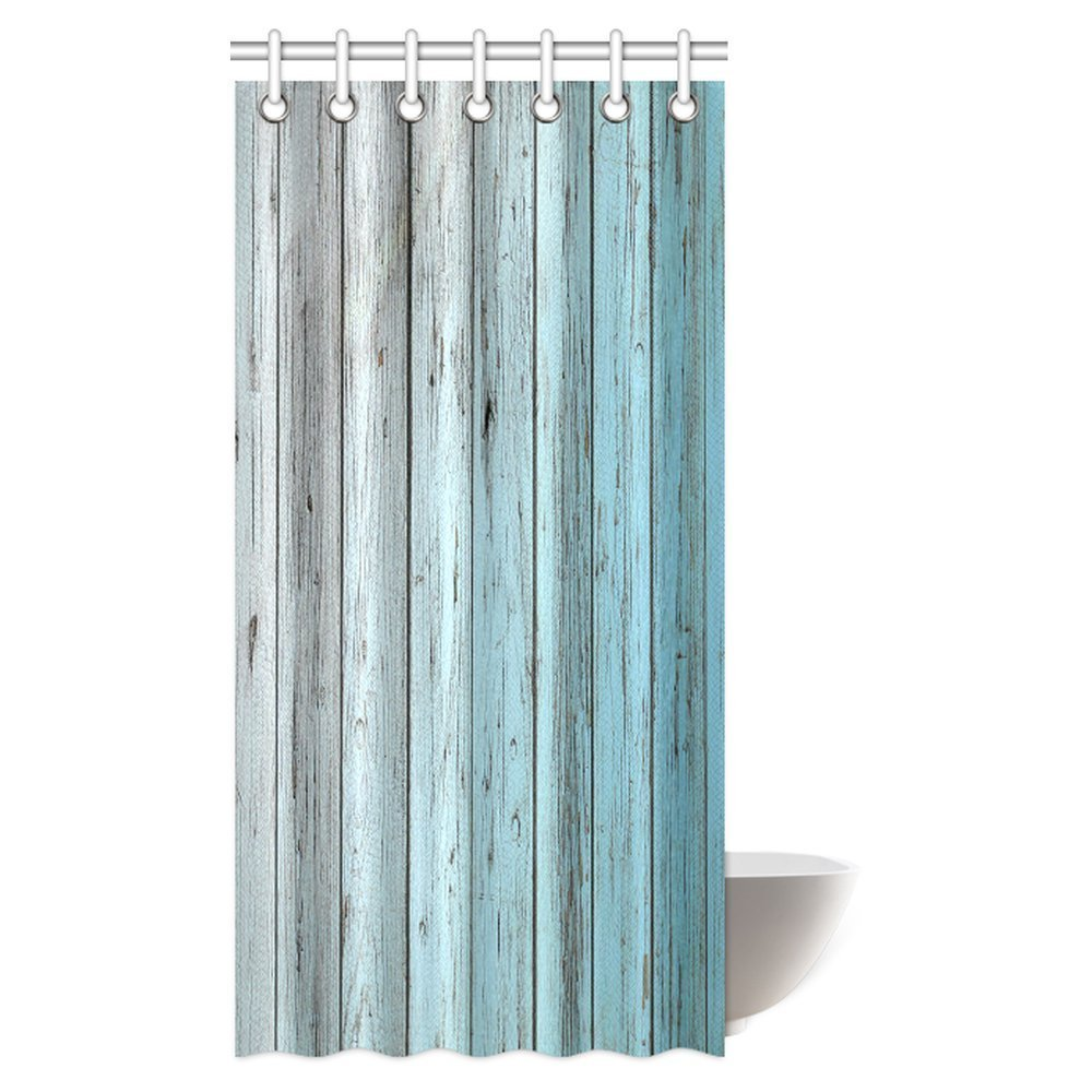MYPOP Village Rustic Wood Panels Fabric Bathroom Shower Curtain Decor Set with Hooks, 36 X 72 Inches, Teal Grey
