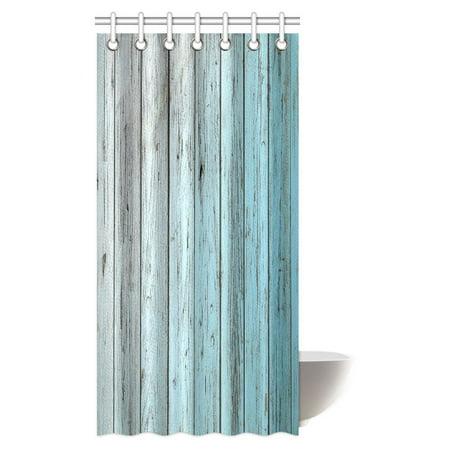 mypop village rustic wood panels fabric bathroom shower curtain decor set with hooks 36 x 72. Black Bedroom Furniture Sets. Home Design Ideas