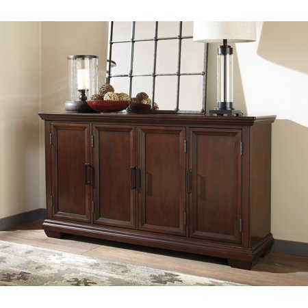 Ashley Furniture Shadyn Brown Finish Dining Storage Server With 4 Framed Doors