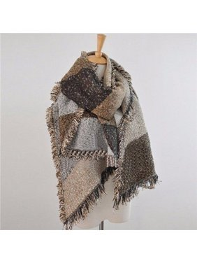 Women Long Cashmere Winter Wool Blend Soft Warm Scarf Wrap Shawl Plaid Scarf Coffe
