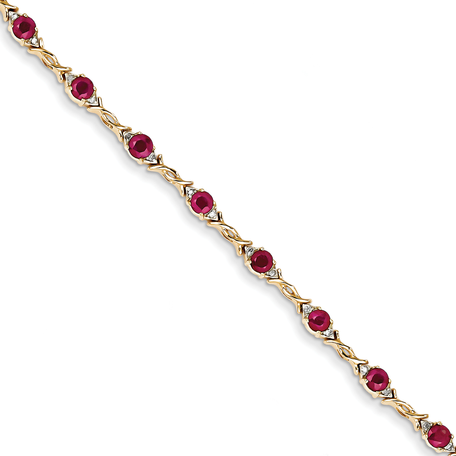 14K Yellow Gold Diamond and Ruby Bracelet by Saris and Things QG