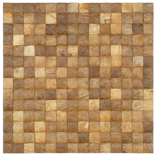 EliteTile Natural 16-1/2'' x 16-1/2'' Convex Coconut Mosaic Wall Tile
