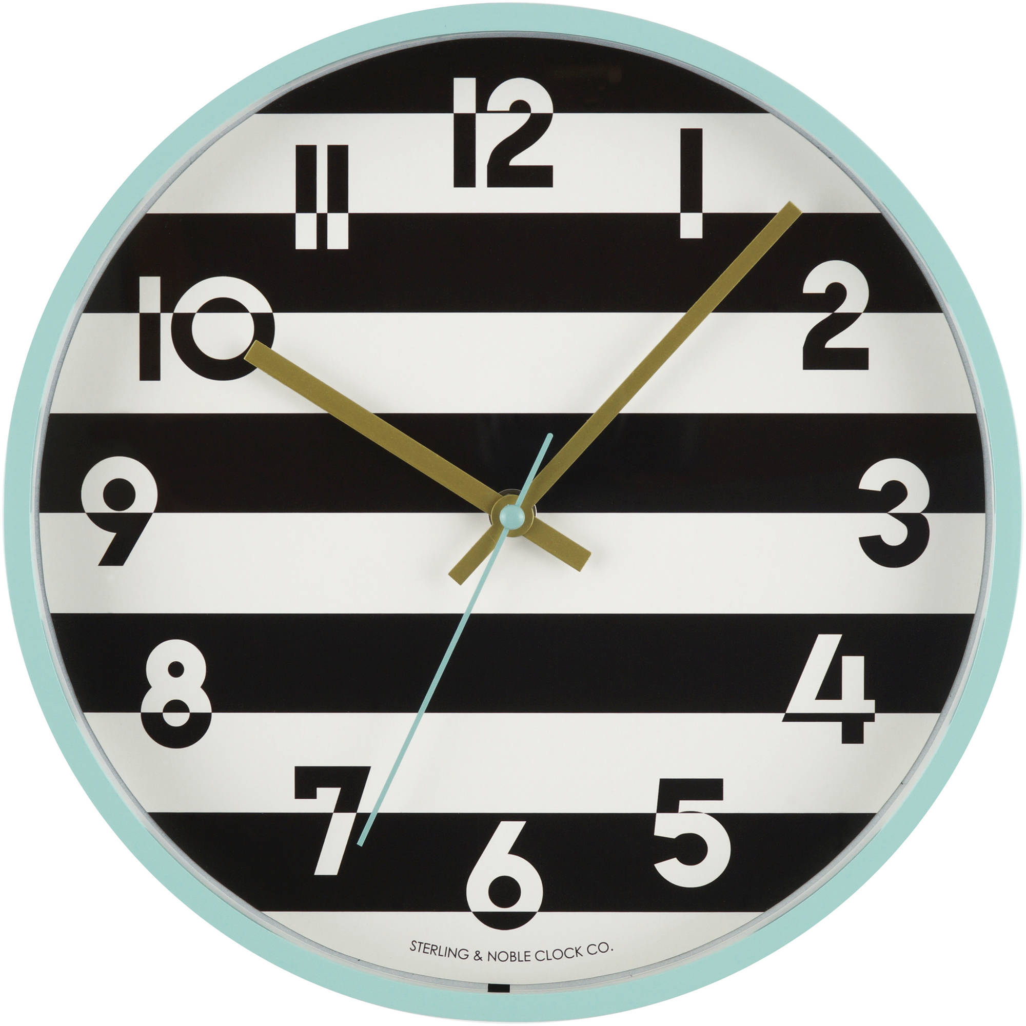 "Mainstays 11.5"" Black and White Stripe Wall Clock"