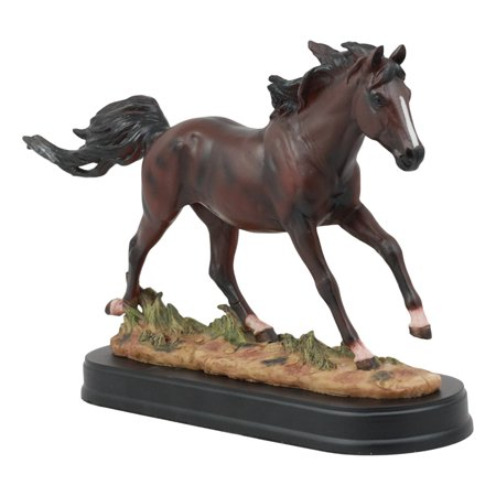Ebros Equestrian Galloping Dark Brown Horse On Wild Pastures Statue 9.25