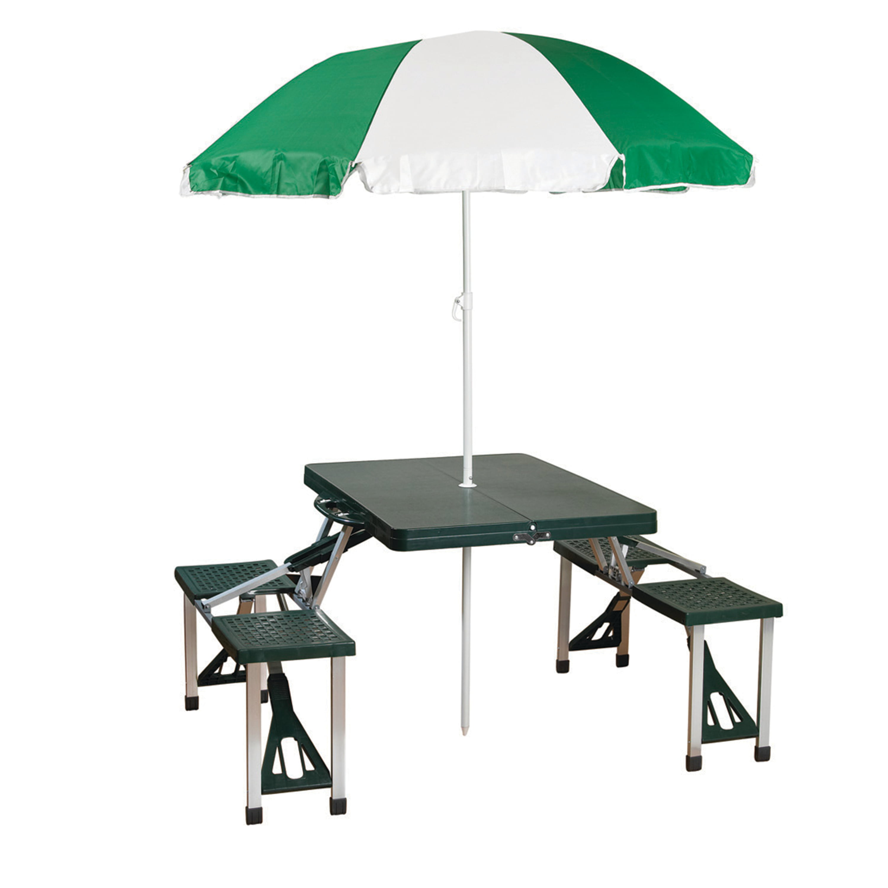 Picture of: Stansport Folding Picnic Table With Umbrella Aluminum Frame Multiple Colors Walmart Com Walmart Com