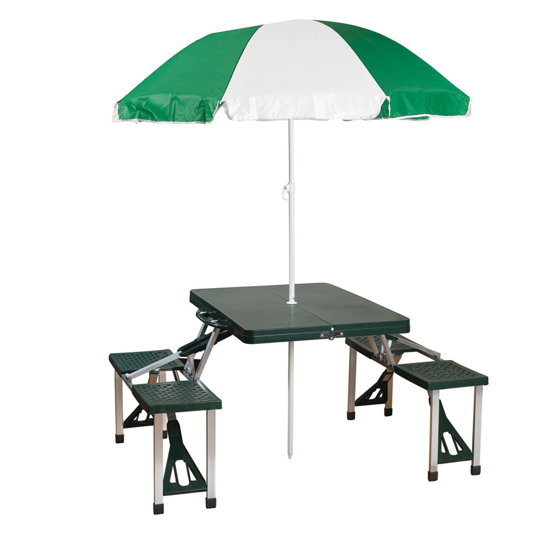 Stansport Folding Picnic Table With Umbrella Aluminum Frame Multiple Colors Walmart Com Walmart Com