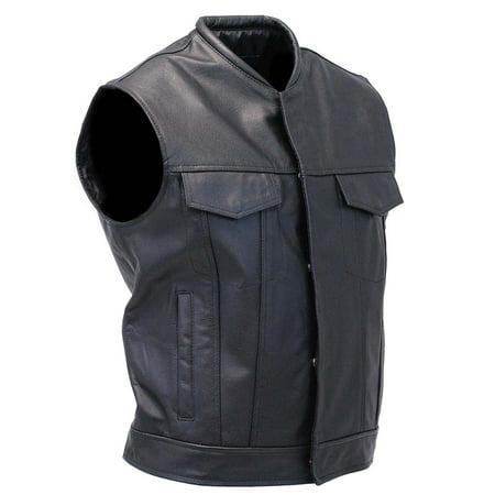 Sleeveless Leather Biker Vest with Gun Pocket #VM1014K