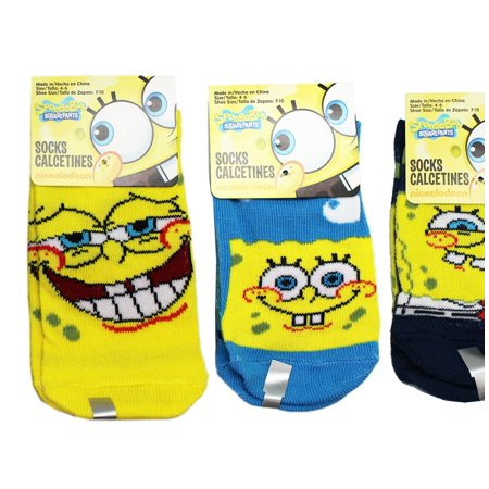 Spongebob Squarepants Assorted Color/Facial Expression Socks (Size 4-6, 3 Pairs)](Spongebob Socks)