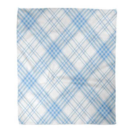 KDAGR Flannel Throw Blanket Gingham Plaid Pattern Printing Pattern Checkered in Stripes of Light Azure Blue on Check 58x80 Inch Lightweight Cozy Plush Fluffy Warm Fuzzy (Best Deal On Check Printing)
