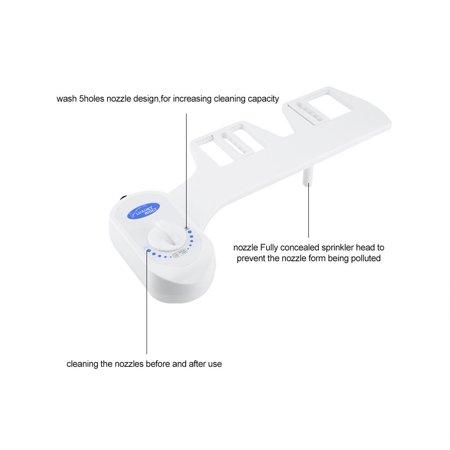 Garosa Bathroom Bidet Seat,Bathroom Toilet Hygienic Bidet Seat Attachment Self Cleaning Nozzle Adjustable Water Flow,Bidet Seat Attachment - image 5 of 9