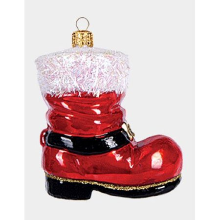 Santa Claus Boots (Red Santa Claus Boot Shoe Polish Glass Christmas Tree Ornament Made in)