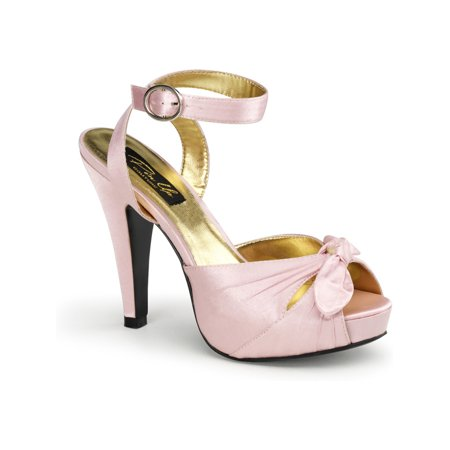 Womens Satin Sandals 4 1/2 Inch Heel Ankle Strap Shoes Pink Black Ivory or Red - Pinup Shoes