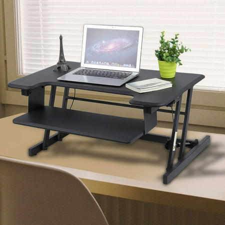 portabe height adjustable standing desk foldable wooden computer table ergonomic desk with keyboard holder - Height Adjustable Standing Desk