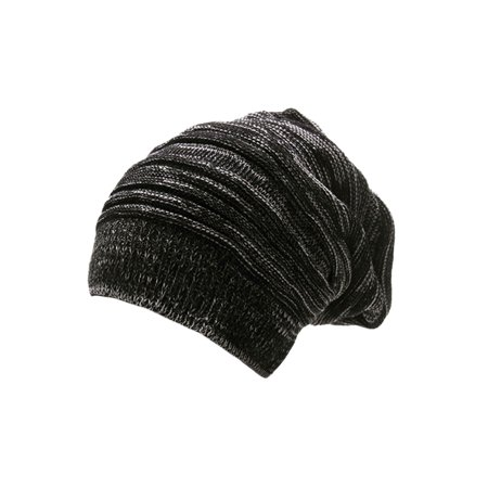 a14865f1281 Mens Korean Stylish Warm Textures Design Knit Beanie Hat Black Off-White -  image 1 ...