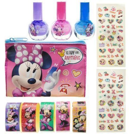 Disney Minnie Mouse Brightly Colored Nail Polish Sticker Set with Carrying Bag (Minnie Mouse Nails For Halloween)