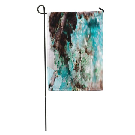 KDAGR Green Turquoise Vibrant Blue Rosasite and Calcite Crystal Mineral on Granite Colorful Gem Garden Flag Decorative Flag House Banner 28x40 inch