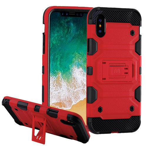 MUNDAZE Red Defense Double Layered Case For Apple iPhone X Phone
