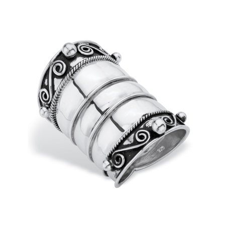- Bohemian Wide Cigar Band-Style Scroll Ring Band in Antiqued Sterling Silver
