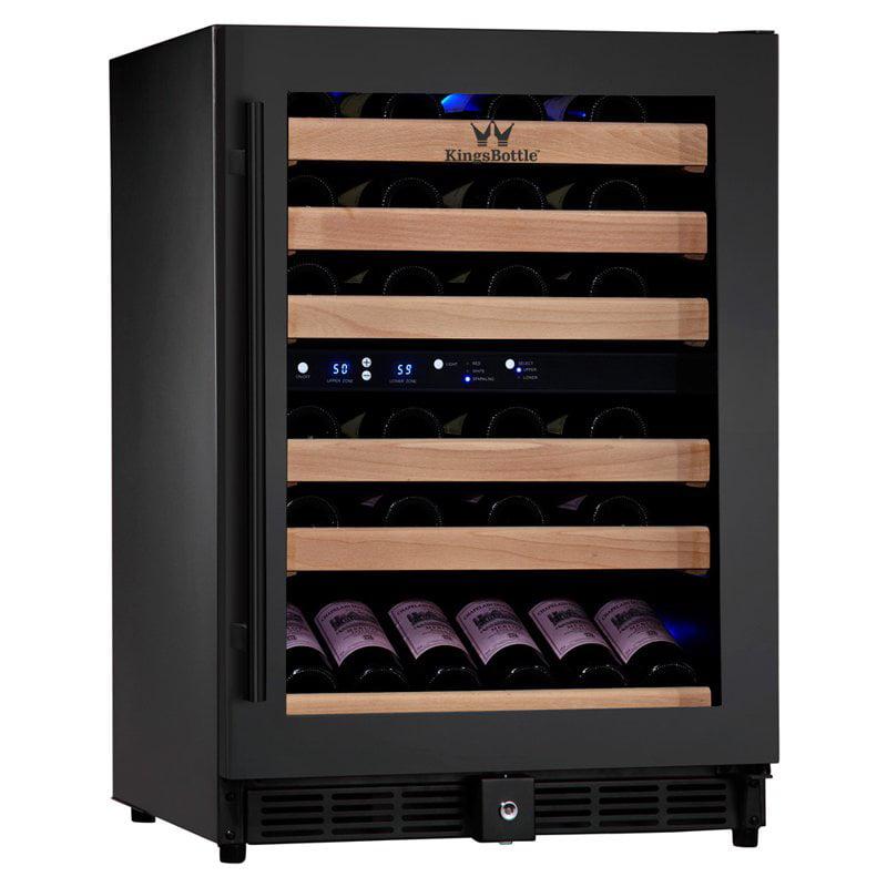 Kingsbottle 46-Bottle 2Temp Wine Fridge, Black