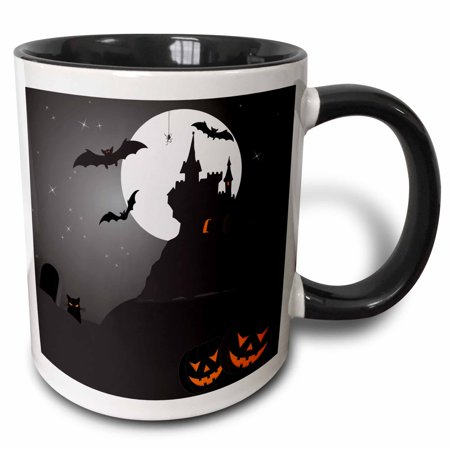 3dRose Halloween Haunted Castle with Pumpkins, Two Tone Black Mug, (Frankenstein's Castle Halloween 2019)