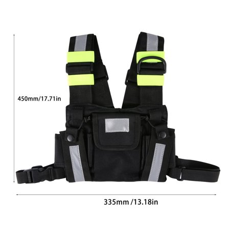 Radio Harness Chest Rig Bag Front & back Reflective Double Pocket Holster Vest - image 8 de 9