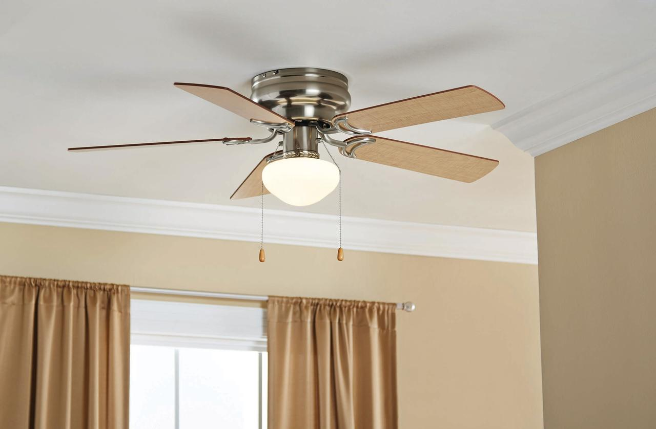 Low Profile Ceiling Fan 42 Quot Led Frosted Light Flush Mount Reversible Blades New Ebay