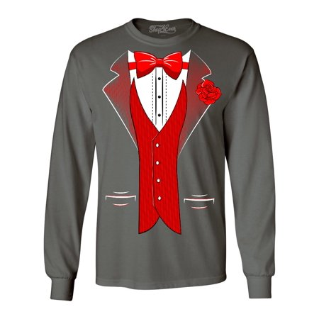 a122e755 Shop4Ever Men's Red Bow Tie Classic Tuxedo with Rose Flower Long Sleeve  Shirt