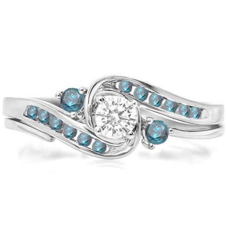 Dazzlingrock Collection 0.50 Carat (ctw) 10k Round Blue And White Diamond Ladies Swirl Bridal Engagement Ring Matching Band Set 1/2 CT, White Gold, Size 7