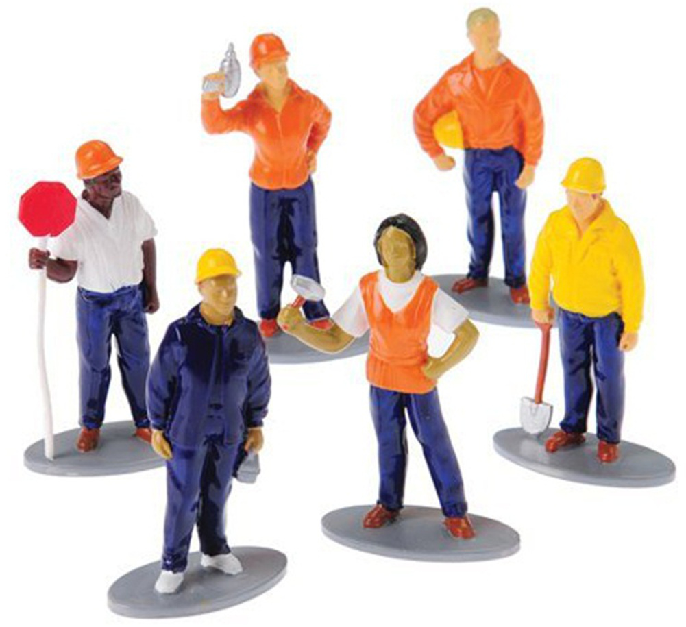 "12 Assorted 3"" Construction Worker Figures Halloween Trick or Treat Toys"