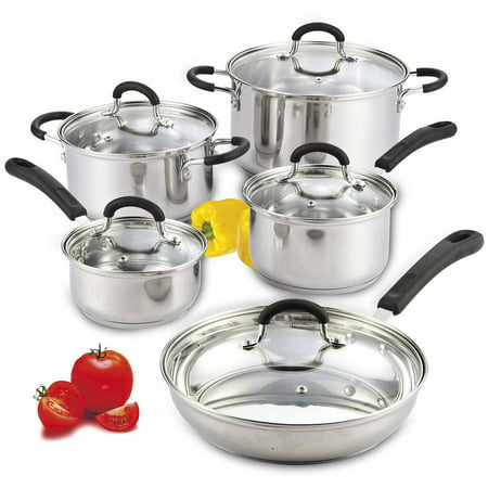 - Cook N Home 10-Piece Stainless Steel Cookware Set with Encapsulated Bottom