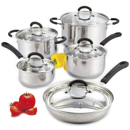 Cook N Home 10-Piece Stainless Steel Cookware Set with Encapsulated -