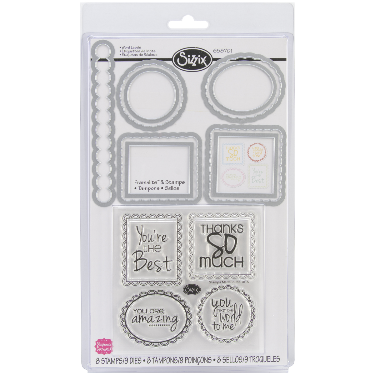 Sizzix Framelits Stamp and Die-Cut Set, Word Labels