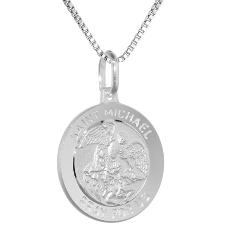 Sterling Silver St Michael Medal Necklace 3/4 inch Round Italy, 16 inch Chain 0.8mm