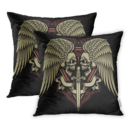 Tribal Sword (ECCOT Tattoo Two Faced Skull with Wings and Sword Tribal Crest Skeleton Vintage Pillowcase Pillow Cover 18x18 inch Set of 2 )