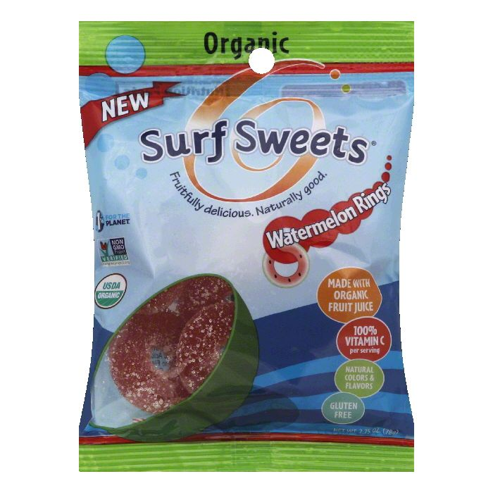 Surf Sweets Organic Watermelon Rings, 2.75 Oz (Pack of 12)