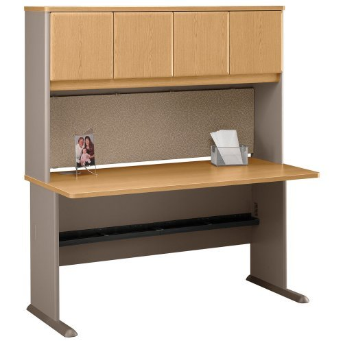 Bush Series A 60 Inch Desk and Hutch in Light Oak and Sage