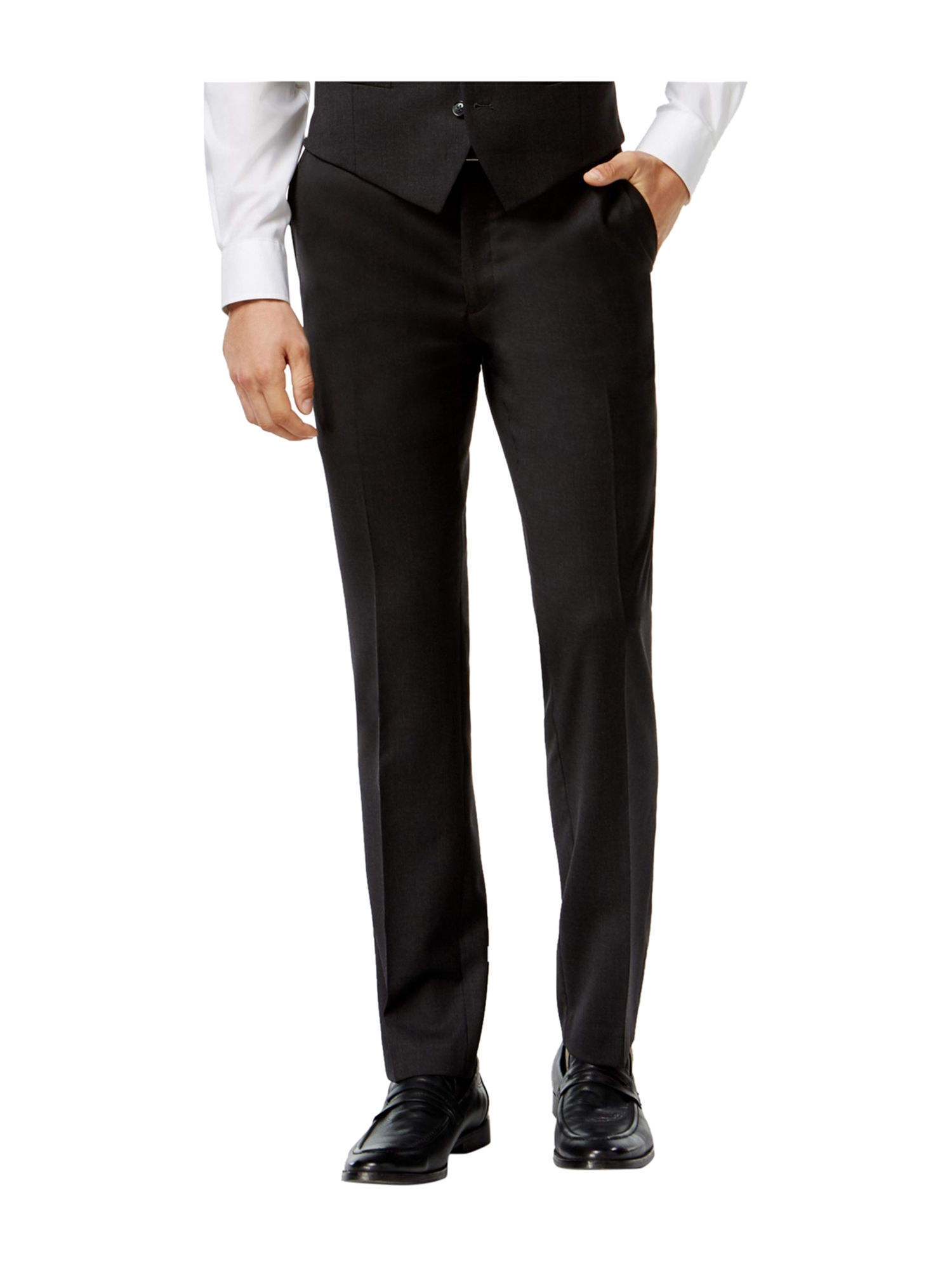 bar III Mens Textured Dress Slacks charcoal 36x34
