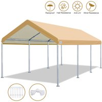 10' x 20' Heavy Duty Carport Car Canopy Garage Shelter Party Tent, Adjustable Height from 6ft to 7.5ftBeige
