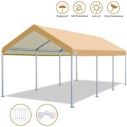 10' x 20' Heavy Duty Carport Car Canopy Garage Shelter Party Tent, Adjustable Height from 6ft to 7.5ft,Beige